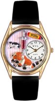 Whimsical Watches Kids' C0130013 Classic Gold Veterinarian Black Leather And Goldtone Watch