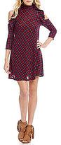 Soulmates Cold-Shoulder Plaid Knit Dress