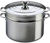 Le Creuset 9-Quart Tri-Ply Stainless Steel Covered Stock Pot with Deep Colander Insert
