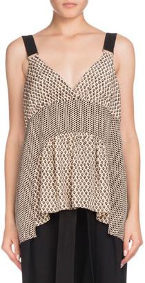 Proenza Schouler V-Neck Sleeveless Mixed-Print Silk Blouse