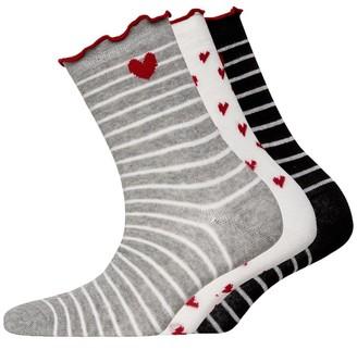 Lovestruck Womens Three Pack Frill Socks Stripe