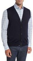 Isaia Cashmere-Silk Cardigan Vest, Navy