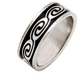 MJ Metals Jewelry 316L Surgical Grade Stainless Steel Ring Black Swirl Design 8mm Wide Size 7