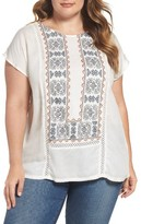 Lucky Brand Plus Size Women's Embroidered Mix Top
