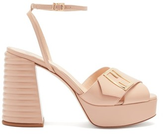 Fendi Promenade Cross-strap Leather Platform Sandals - Nude