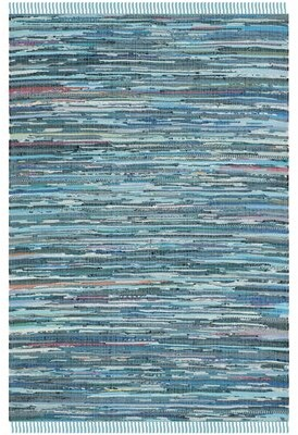 Beachcrest Home Hatteras Cotton Blue Area Rug