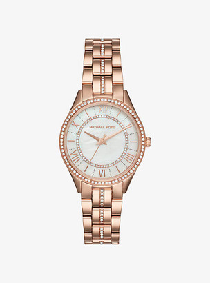 Michael Kors Mini Lauryn Pave Rose Gold-Tone Watch