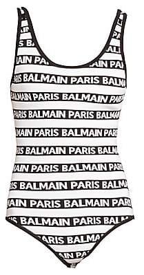 Balmain Women's Paris Striped Bodysuit