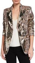 Berek Studio Women's Non-Denim Casual Jackets Gold - Gold & Brown Leopard Print Reversible Sequin Blazer - Women