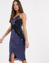 Little Mistress sequin lace trim bodycon dress