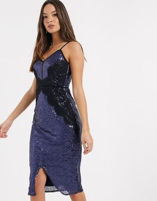 Little Mistress sequin lace trim bodycon dress-Navy