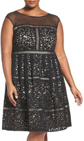 Eliza J Illusion Yoke Lace Fit & Flare Dress (Plus Size)
