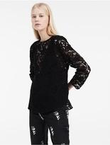 Calvin Klein Platinum Openwork 3/4 Sleeve Top