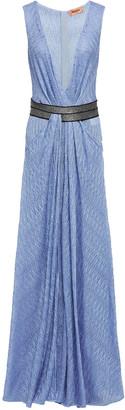 Missoni Wrap-effect Metallic Crochet-knit Maxi Dress