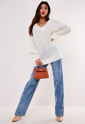 Missguided Tall White Waffle Stitch V Neck Jumper
