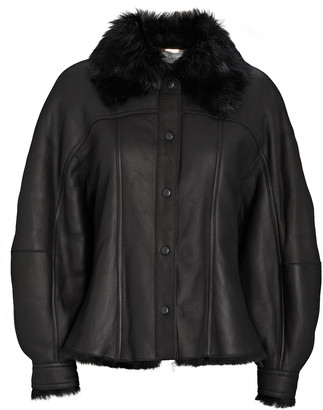 Alberta Ferretti Leather Shearling-Trimmed Bomber Jacket