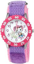 Disney Girl's 'Sheriff Callie' Quartz Stainless Steel and Nylon Automatic Watch, Color:Purple (Model: W003087)