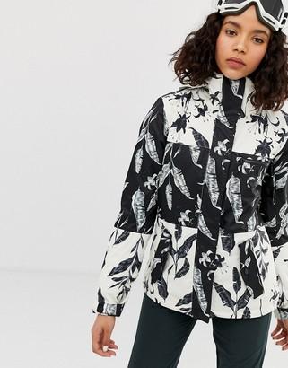 Roxy Jetty ski jacket in black multi print