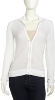 Paperwhite Mesh Zip-Front Cardigan, White