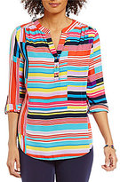 Investments Y-Neck Hi-Low Roll-Tab Sleeve Striped Blouse