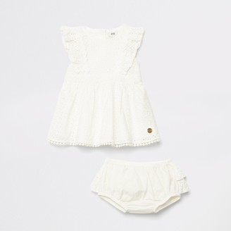 River Island Mini girls White broderie dress outfit