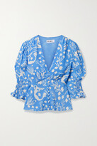 Thumbnail for your product : Rixo Payton Printed Crepe Blouse - Blue