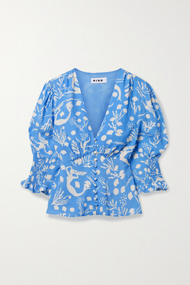 Rixo Payton Printed Crepe Blouse - Blue