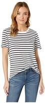 Splendid Zoe Short Sleeve Cotton Modal Slub Striped Crew Neck Tee (Navy/Off-White) Women's T Shirt
