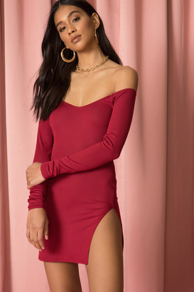 superdown Off the Shoulder Slit Mini Dress Wine