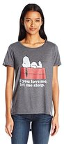Peanuts Junior's Snoopy IF You Love Me Let Me Sleep High Low Drapey Boyfriend Graphic Tee