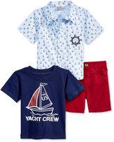Nannette 3-Pc. Yacht Crew Shirt, T-Shirt & Shorts Set, Baby Boys (0-24 months)