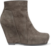 Rick Owens Suede wedge ankle boots