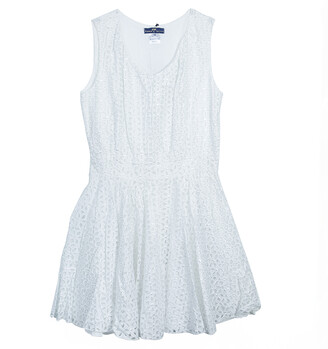 Roma e Tosca White Eyelet Embroidered Sleeveless Dress 10 Yrs