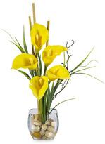 CALLA Nearly Natural Silk Lilly Liquid Illusion Arrangement - Yellow