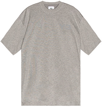 Yohji Yamamoto Chest Logo Short Sleeve Tee in Medium Grey Heather | FWRD