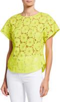 Diane von Furstenberg Nellie Floral Lace Short-Sleeve Cropped Top