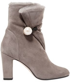 Jimmy Choo Bethanie 85 Shearling-lined Embellished Suede Ankle Boots