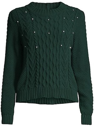 Max Mara Embellished Cable Knit Sweater