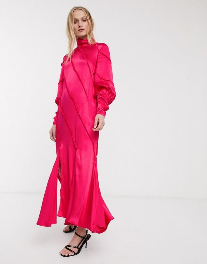 ASOS raw edge paneled long sleeve maxi dress