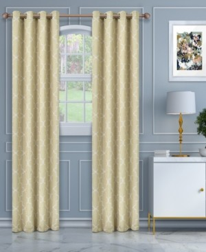 """Superior Soft Quality Woven, Imperial Trellis Blackout Thermal Grommet Curtain Panel Pair, Set of 2, 52"""" x 108"""""""