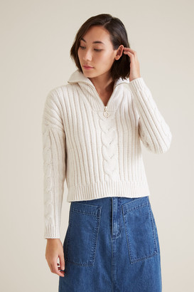 Seed Heritage Cable Knit Zip Sweater