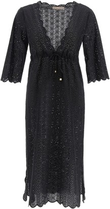 Tory Burch BRODERIE MIDI DRESS S Black Cotton