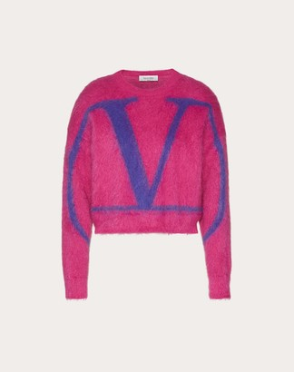 Valentino Vlogo Signature Mohair Wool Polyamide Sweater Women Bright Pink/purple Mohair 67%, Wool 5% L
