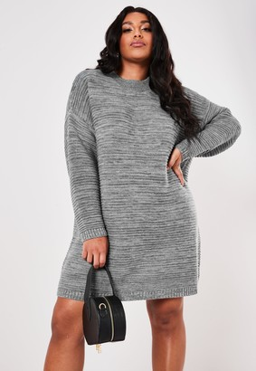 Missguided Plus Size Grey Rib High Neck Jumper Dress