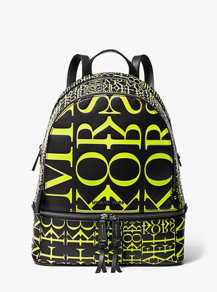 MICHAEL Michael Kors MK Rhea Medium Newsprint Logo Leather Backpack - Black/neon Yellow - Michael Kors