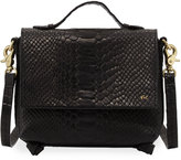 Foley + Corinna Gigi Snake-Embossed Leather Flap Crossbody Bag, Black