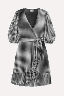Ganni Gingham Mesh Wrap Mini Dress - Black