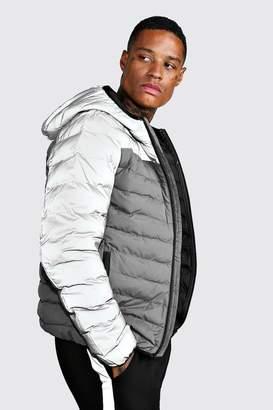BoohoomanBoohooMAN Mens Grey Quilted Zip Through Puffer Jacket, Grey