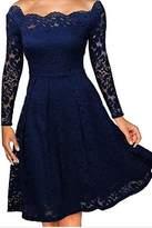 Yacun Women's Floral Long Sleeve Off the Shoulder A-line Dress M