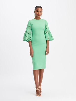 Oscar de la Renta Stretch Wool Midi Embroidered Dress